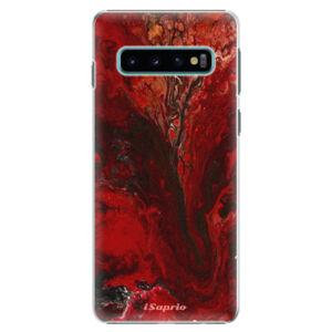Plastové puzdro iSaprio - RedMarble 17 - Samsung Galaxy S10