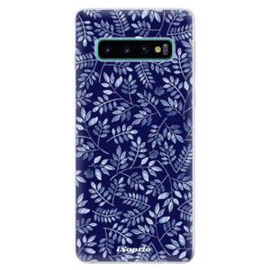 Odolné silikonové pouzdro iSaprio - Blue Leaves 05 - Samsung Galaxy S10