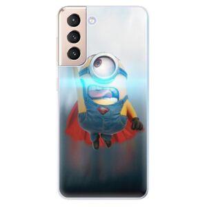 Odolné silikónové puzdro iSaprio - Mimons Superman 02 - Samsung Galaxy S21