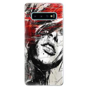 Odolné silikonové pouzdro iSaprio - Sketch Face - Samsung Galaxy S10
