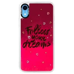 Neónové púzdro Pink iSaprio - Follow Your Dreams - black - iPhone XR