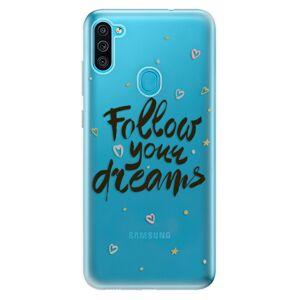Odolné silikónové puzdro iSaprio - Follow Your Dreams - black - Samsung Galaxy M11