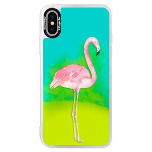 Neónové puzdro Blue iSaprio - Flamingo 01 - iPhone X