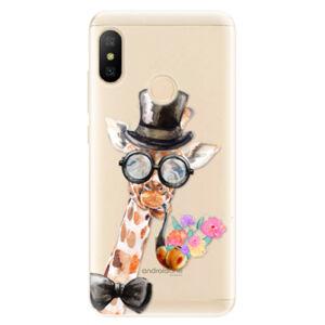 Odolné silikónové puzdro iSaprio - Sir Giraffe - Xiaomi Mi A2 Lite