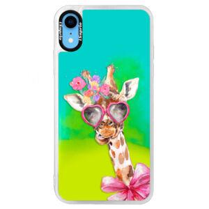 Neónové puzdro Blue iSaprio - Lady Giraffe - iPhone XR