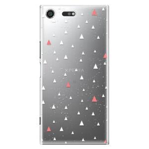 Plastové puzdro iSaprio - Abstract Triangles 02 - white - Sony Xperia XZ Premium