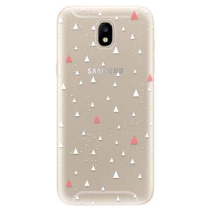 Odolné silikónové puzdro iSaprio - Abstract Triangles 02 - white - Samsung Galaxy J5 2017