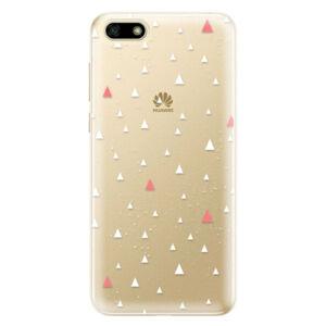 Odolné silikónové puzdro iSaprio - Abstract Triangles 02 - white - Huawei Y5 2018