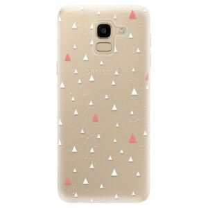 Odolné silikónové puzdro iSaprio - Abstract Triangles 02 - white - Samsung Galaxy J6