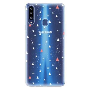 Odolné silikónové puzdro iSaprio - Abstract Triangles 02 - white - Samsung Galaxy A20s