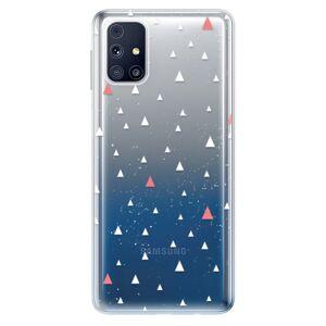 Odolné silikónové puzdro iSaprio - Abstract Triangles 02 - white - Samsung Galaxy M31s