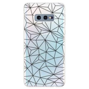 Odolné silikonové pouzdro iSaprio - Abstract Triangles 03 - black - Samsung Galaxy S10e