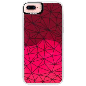 Neónové púzdro Pink iSaprio - Abstract Triangles 03 - black - iPhone 7 Plus