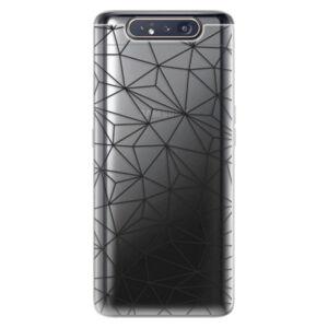 Odolné silikónové puzdro iSaprio - Abstract Triangles 03 - black - Samsung Galaxy A80