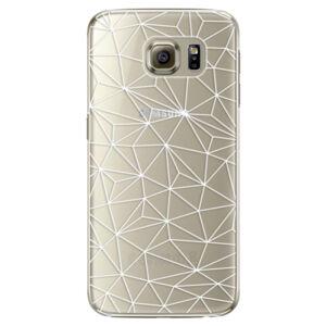 Plastové puzdro iSaprio - Abstract Triangles 03 - white - Samsung Galaxy S6 Edge Plus