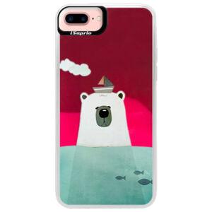 Neónové púzdro Pink iSaprio - Bear With Boat - iPhone 7 Plus