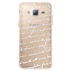 Plastové puzdro iSaprio - Handwriting 01 - white - Samsung Galaxy J3 2016