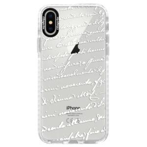 Silikónové púzdro Bumper iSaprio - Handwriting 01 - white - iPhone X