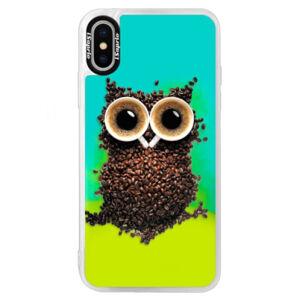 Neónové puzdro Blue iSaprio - Owl And Coffee - iPhone XS