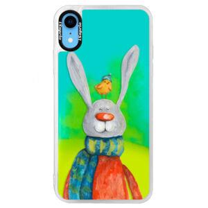 Neónové puzdro Blue iSaprio - Rabbit And Bird - iPhone XR
