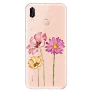 Odolné silikónové puzdro iSaprio - Three Flowers - Huawei P20 Lite