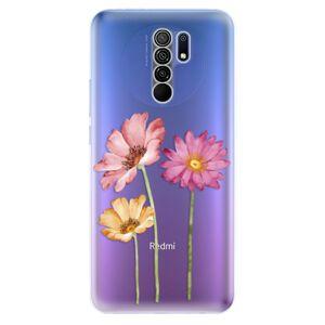 Odolné silikónové puzdro iSaprio - Three Flowers - Xiaomi Redmi 9
