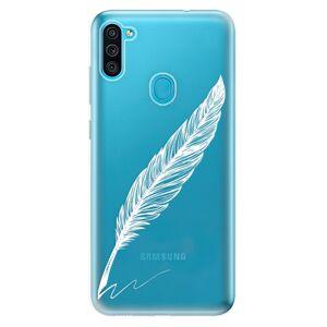 Odolné silikónové puzdro iSaprio - Writing By Feather - white - Samsung Galaxy M11
