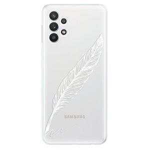 Odolné silikónové puzdro iSaprio - Writing By Feather - white - Samsung Galaxy A32