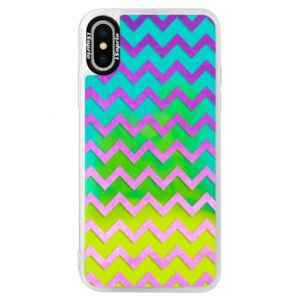 Neónové puzdro Blue iSaprio - Zigzag - purple - iPhone XS