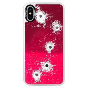 Neónové púzdro Pink iSaprio - Gunshots - iPhone X