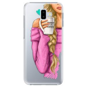 Plastové puzdro iSaprio - My Coffe and Blond Girl - Samsung Galaxy J6+
