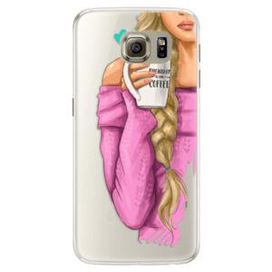 Silikónové puzdro iSaprio - My Coffe and Blond Girl - Samsung Galaxy S6