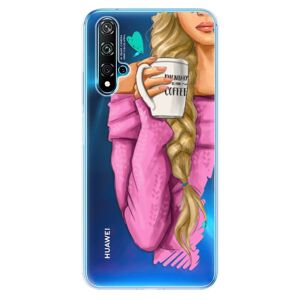 Odolné silikónové puzdro iSaprio - My Coffe and Blond Girl - Huawei Nova 5T