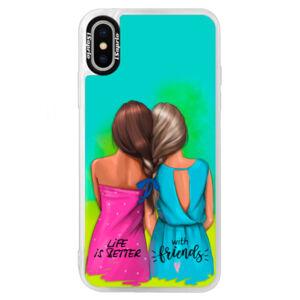 Neónové puzdro Blue iSaprio - Best Friends - iPhone X