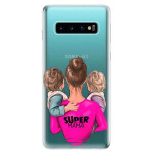 Odolné silikonové pouzdro iSaprio - Super Mama - Two Boys - Samsung Galaxy S10