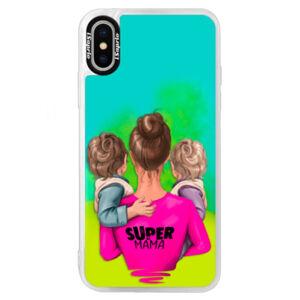 Neónové puzdro Blue iSaprio - Super Mama - Two Boys - iPhone XS