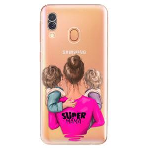 Odolné silikónové puzdro iSaprio - Super Mama - Two Boys - Samsung Galaxy A40