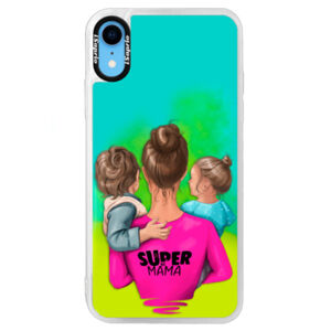 Neónové puzdro Blue iSaprio - Super Mama - Boy and Girl - iPhone XR