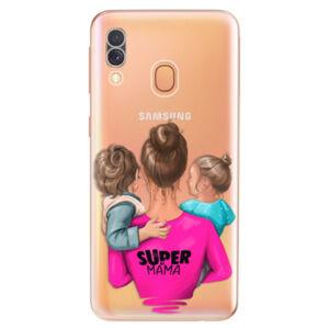 Odolné silikónové puzdro iSaprio - Super Mama - Boy and Girl - Samsung Galaxy A40