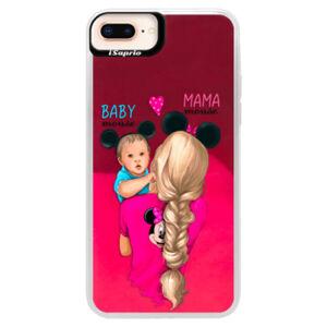 Neónové púzdro Pink iSaprio - Mama Mouse Blonde and Boy - iPhone 8 Plus