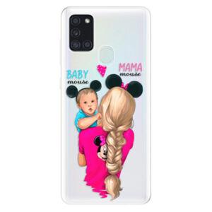Odolné silikónové puzdro iSaprio - Mama Mouse Blonde and Boy - Samsung Galaxy A21s