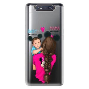 Odolné silikónové puzdro iSaprio - Mama Mouse Brunette and Boy - Samsung Galaxy A80