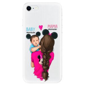 Odolné silikónové puzdro iSaprio - Mama Mouse Brunette and Boy - iPhone SE 2020