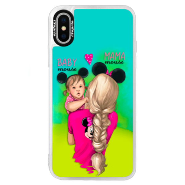 Neónové puzdro Blue iSaprio - Mama Mouse Blond and Girl - iPhone X