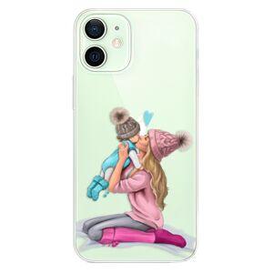 Odolné silikónové puzdro iSaprio - Kissing Mom - Blond and Boy - iPhone 12