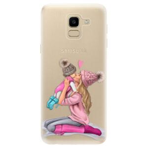 Odolné silikónové puzdro iSaprio - Kissing Mom - Blond and Girl - Samsung Galaxy J6