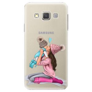 Plastové puzdro iSaprio - Kissing Mom - Brunette and Boy - Samsung Galaxy A7