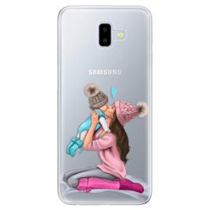 Odolné silikónové puzdro iSaprio - Kissing Mom - Brunette and Boy - Samsung Galaxy J6+