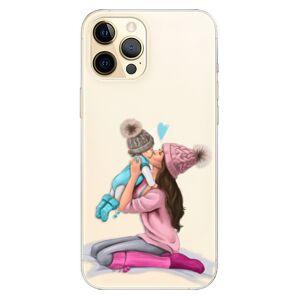 Odolné silikónové puzdro iSaprio - Kissing Mom - Brunette and Boy - iPhone 12 Pro