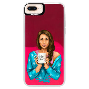 Neónové púzdro Pink iSaprio - Coffe Now - Brunette - iPhone 8 Plus